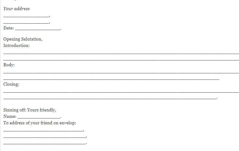 the format of informal letter