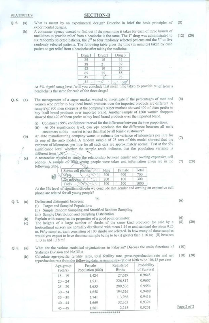 Statistics Paper CSS 2018