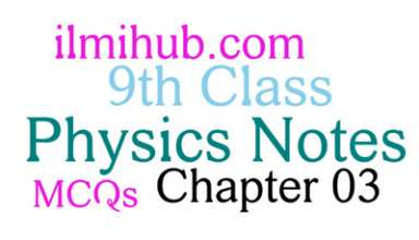 9th Class Physics Chapter 3 MCQs