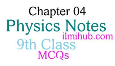 9th Class physics Chapter 4 MCQs, MCQs of 9th Physics Chapter 4
