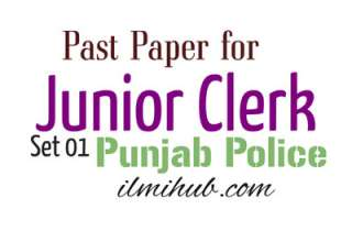 Past Paper for the Post of Junior Clerk in Punjab Police