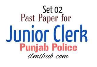 Model Paper for Junior Clerk Test in Punjab Police Department