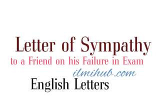 informal letter to friend, Letter of sympathy to a friend on his failure in examination, sympathy letter
