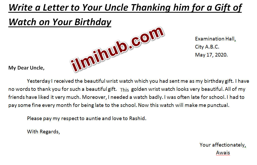 letter to uncle, informal letter to uncle, letter to uncle thanking him for a gift